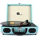 1byone Belt-driven Lecteur Platine Vinyle 3 Vitesses avec Enceintes Intégrées, Support Sortie RCA / Prise pour Ecouteurs/ MP3 /Musique Playback ...