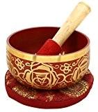 1er Chakra Muladhara Or Racine Rouge bouddhistes Bol chantant pour la méditation, 5 pouces