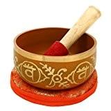 2e Chakra Swadhistana Ou sacral orange bouddhistes Bol chantant pour la méditation, 5 pouces