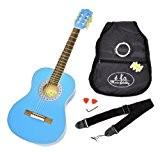 3/4 de la guitare acoustique de concert pour les enfants 9-12 ans Bleu clair + accessoires