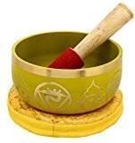 3ème Chakra Manipura Ou plexus solaire jaune bouddhistes Bol chantant pour la méditation, 5 pouces
