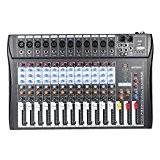 ammoon 120S-USB 12 canaux Mic Audio Line Mixer Console de mixage USB XLR Entrée EQ 3 bandes 48V d'alimentation Fantôme ...