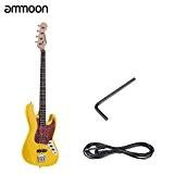 ammoon Bois Massif 4 Cordes JB Electrique Bass Guitare Basswood Palissandre Administration Fretboard 24 Frettes avec 6,35 Câble