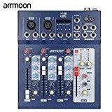 ammoon F4-USB 3 Canaux Mic Ligne Numérique de Mixage Audio Mixer Console avec 48V Alimentation Fantôme pour l'enregistrement DJ Scène ...