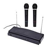 ammoon Microphone Sans Fil Studio Kit de Système de Microphone à Distance FM Émetteur Récepteur avec Câble Audio pour KTV ...