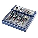 ammoon Professionnel Métal 4 Canaux en Direct Mixer Console de Mixage 3-Band EQ USB Fonction 48V Phantom avec Built-in Effect ...