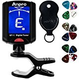 Anpro GT-1 Accordeur Chromatique Tuner Digital Timbre Accordeur Electronique à Pince avec 360 Degrés Rotation Pour Guitare Ukulélé Violin Et ...