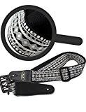 ATIDY Guitar Strap, Style Strap National Classique - Sangle réglable pour Guitare Basse Guitare Folk Guitare électrique (Silver)
