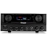 auna AMP-2 Amplificateur Karaoke Hifi home cinéma super compact (400W, 2 entrées micro, canaux de sortie audio 2.0, égaliseur, effet ...
