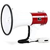auna Mégaphone professionnel (pour événements sportifs, manifestations, cinéma, puissance 80W, performance de pointe 100dB, portée 1000m, fonction sirène) - rouge ...