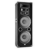 """auna PA-2200 Fullrange enceinte PA haut-parleur sono (Subwoofer 12"""" 33 cm, 1000W max, système à 3 voies, langhub ventilés, push ..."""