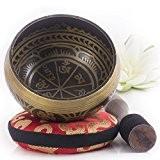 Bol chantant tibétain - Aspect antique - Coussin de l'Himalaya et maillet inclus - Cadeau parfait - Fabriqué au Népal
