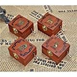 brovy (TM) Rétro Boîte à musique boîte à musique à manivelle en bois Artisanat de qualité 4Patterns pour option