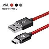 Câble USB Type C de 2M en Nylon Tressé,BlitzWolf Cable de Données Charge pour Macbook Pro 2016, ChromeBook Pixel, Nexus ...