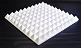 Car Insulation UK Lot de 4 panneaux en mousse de forme pyramidale pour isolation phonique Blanc 500 mm x 500 mm