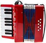 Classic cantabile 00037968 bambino rosso accordéon pour enfant 17 touches, 8 basses, sangle réglable rouge-épaules