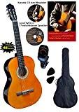 Clifton Guitare classique acoustique 4/4 marron - kit debuttants avec CD Karaoké, DVD d'apprentissage et accessoires