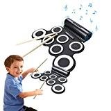 CoastaCloud Tambour Portable Roll Up Drum Pad Instrument Tambour en Batterie électronique Pliable + Baguette et Pédale