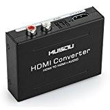 Convertisseur Audio, Musou Adaptateur Optique, Convertir HDMI Numérique à HDMI+SPDIF/Optique+RCA(L/R), avec EURO alimentation 5V, Parfait pour PS3 XBox HD DVD ...
