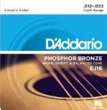 D'Addario Cordes en Bronze Phosphoreux pour Guitare Acoustique D'Addario EJ16 Light 12-53 1-Jeux