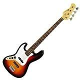 Dimavery 059268 JB-302 Guitare basse électrique Gaucher Sunburst