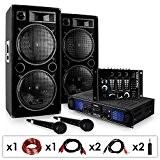 "DJ SET ""DJ-20.1"" Ampli enceintes mixer micro câbles 2000W"