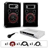 DJ11 - Set de sono DJ avec ampli, 2 enceintes 1000W, micro et cablage (haut-parleurs 20cm)