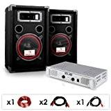 """DJ15 - Set de sono DJ avec ampli, 2 enceintes 1000W et cablage (haut-parleurs 8"""")"""