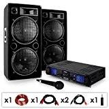DJ20 - Set de sono DJ avec ampli, 2 enceintes 2000W, micro et cablage (haut-parleurs 2x30cm)