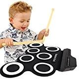 Ensemble Roll-Up de batterie électronique avec prise MIDI par TimeCollect, pédale de contrebasse, haut-parleur intégré Casque d'écoute pour les débutants ...