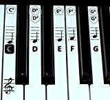finefun Piano Clavier Clé et Note de musique autocollants en Piano d'apprentissage Label (Noir) noir