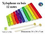 Grand xylophone enfant en bois et couleur à 12 notes avec 2 baguettes