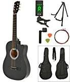 Guitare acoustique noir avec des accessoires un sac, tuner LCD, stand de gitarre