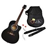 Guitare acoustique noir style ‹‹ Western ›› à la taille 4/4 avec touche en bois, vendue avec poche rembourrée, courroie ...