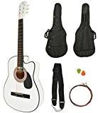 Guitare Acoustique Sunburst Blanc+ GigBag + Strap + chaînes de rechange