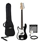 Guitare Basse Gaucher LA + Pack Ampli par Gear4music Noir