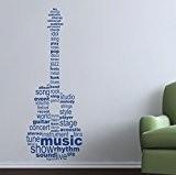 Guitare texte. QUALITÉ Musique Sticker mural en vinyle mat. 6options de couleur. Bleu Bleu