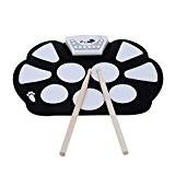 InVaFoCo Cadeaux d'Anniversaire,Électronique Roller Drum Pad Batterie Électronique Avec Percussion Pad, Portable Drum Kit Silicone Pliable Avec Stick & Record ...