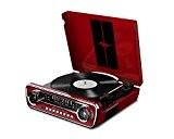 ION Audio Mustang LP Red  Tourne Disque Rétro Ford Mustang 1965 4-en-1 avec Haut-parleurs, FM Radio, Entrée Aux et ...