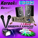 KARAOKÉ + 2 JEUX DE LUMIERE avec AMPLI USB MP3 SD BLUETOOTH + 2 MICROS + 2 ENCEINTES HIFI ... ...