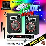 KARAOKE LIGHT LED PACK SONO 400W + AMPLI MP3 USB + ENCEINTES + CABLE PC + 2 JEUX LUMIÈRES PA ...