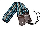 KENPMA pur doux coton ukulélé sangle bandoulière réglable avec cuir fin et Uke sangle bouton fin broches de verrouillage (bleu)