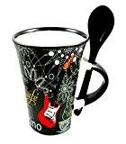Little ronflement Exclusif pour guitare électrique Mug avec cuillère noir Cappuccino mug...