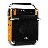 Malone Rock Fortress Enceinte de sono mobile (Bluetooth, port USB, radio tuner FM, AUX, batterie, entrée micro, poignées) - orange