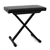 Malone Tabouret de piano (pour piano, clavier, synthé, siège épais confortable, housse en cuir synthétique résistant, 3 hauteurs réglables, pieds ...