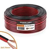 Manax Câble de haut-parleur - Rouge/noir - 2 x 0,75 mm², 25 m
