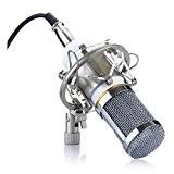 Microphone - SODIAL(R)Microphone a condensateur Professionnel Audio Studio Microphone d'enregistrement avec un support antichoc Blanc BM-800