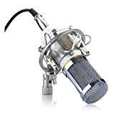 Microphone - TOOGOO(R)Microphone a condensateur Professionnel Audio Studio Microphone d'enregistrement avec un support antichoc Blanc BM-800