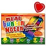 Mon touches multicolores-SONGBOOK pour Piano, Clavier, Mélodica et Triola-Enfants Chansons populaire avec cœur coloré Note Pince