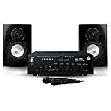 MyDj Pack My Karaoké 150W 2 Enceintes + Amplificateur + 2 Microphones/Câble pour DJ Noir